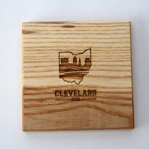 Cleveland Ohio: Laser Etched Ash Wood Coasters