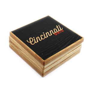Cincinnati Ohio: Black Orange Color Block Ash Wood Coasters