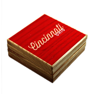 Cincinnati Ohio: Red White Color Block Ash Wood Coasters