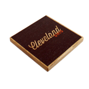 Cleveland Ohio: Brown Orange Color Block Ash Wood Coasters