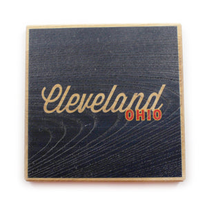 Cleveland Ohio: Wine Gold Color Block Ash Wood Coasters