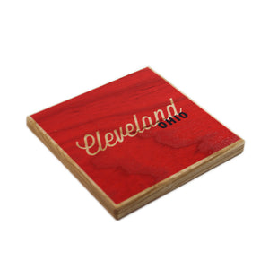 Cleveland Ohio: Red Blue Color Block Ash Wood Coasters