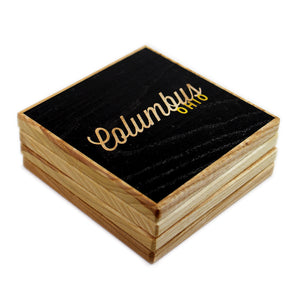 Columbus Ohio: Black Gold Color Block Ash Wood Coasters