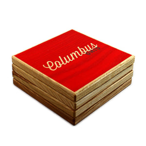 Columbus Ohio: Red Grey Color Block Ash Wood Coasters