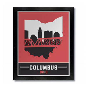 Columbus, Ohio Skyline Print: Red/Black Football