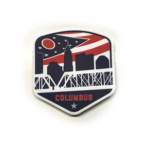 Columbus Ohio Flag Shield Vintage Stickers