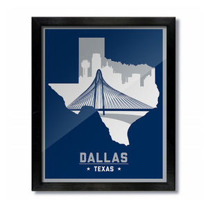 Dallas Cowboys Mavericks Vintage Skyline Print