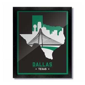 Dallas, Texas Skyline Print: Black Hockey