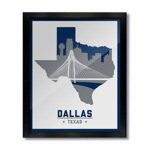 Dallas Texas White Cowboys Mavericks Vintage Skyline Print