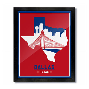 Dallas, Texas Skyline Print: Red/Blue Baseball