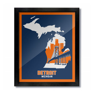 Detroit, Michigan Skyline Print: Blue/Orange Baseball