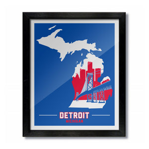 Detroit, Michigan Skyline Print: Blue/Red Basketball