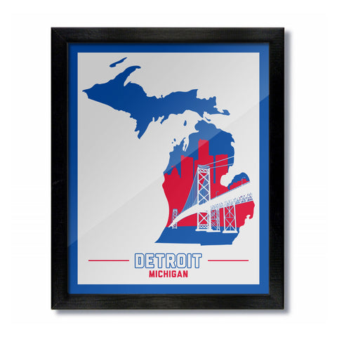 Detroit, Michigan Skyline Print: White-Blue/Red Basketball