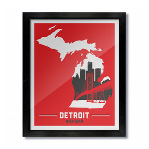 Detroit, Michigan Skyline Print: Red Hockey