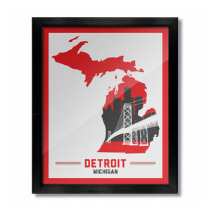 Detroit, Michigan Skyline Print: White/Red Hockey
