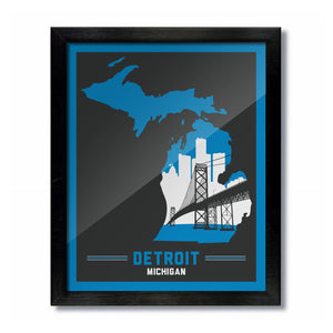 Detroit, Michigan Skyline Print: Blue/Grey Football