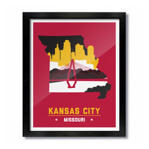 Kansas City Missouri Skyline Print: Red/Gold Football
