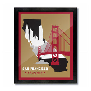 San Francisco, California Skyline Print: Gold/Scarlet Football