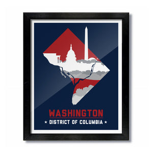 Washington, DC Skyline Print: Navy/Red Baseball