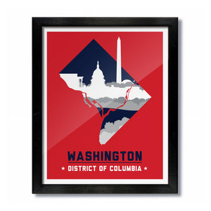 Washington, DC Skyline Print: Red/Navy Hockey