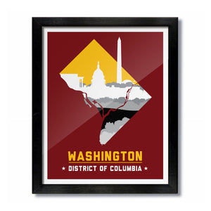 Washington, DC Skyline Print: Burgundy/Gold Football