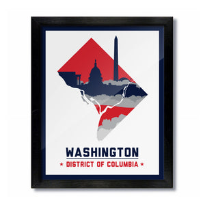 Washington, DC Skyline Print: White/Red Basketball