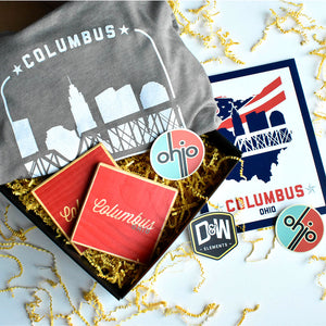 Columbus Grey Gift Box - Shirt, Print, Coasters and Stickers