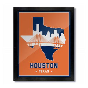 Houston, Texas Skyline Print: Orange Baseball