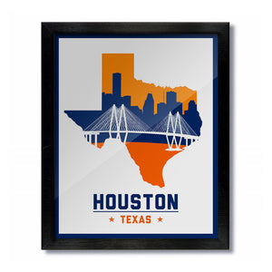 Houston, Texas Skyline Print: White Baseball