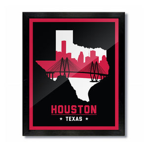 Houston, Texas Skyline Print: Black/Red Basketball