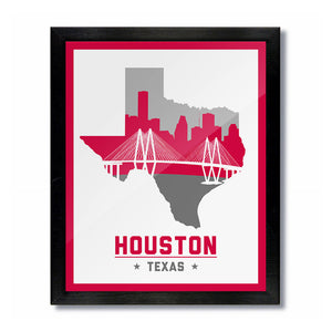 Houston, Texas Skyline Print: White Basketball