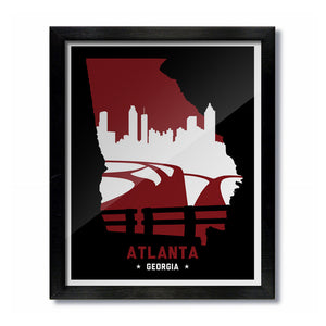 Atlanta, Georgia Skyline Print: Red/Black Football