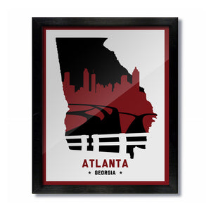 Atlanta, Georgia Skyline Print: White Red/Black Football