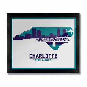Charlotte, North Carolina Skyline Print: White/Purple Basketball