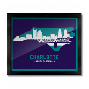 Charlotte, North Carolina Skyline Print: Purple Basketball