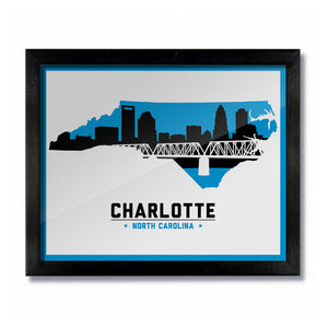 Charlotte, North Carolina Skyline Print: White Football