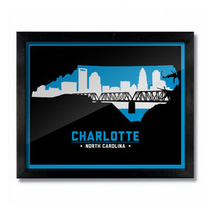 Charlotte, North Carolina Skyline Print: Black Football