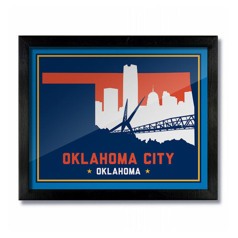 OKC Oklahoma Skyline Print: Dark Basketball