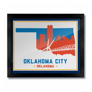 OKC Oklahoma Skyline Print: Light Basketball