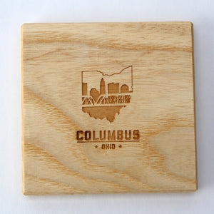 Columbus Ohio: Laser Etched Ash Wood Coasters