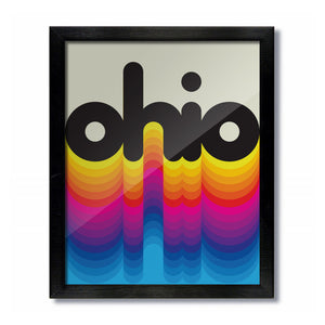 Ohio Rainbow Vintage Retro Print