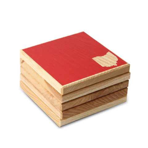 Ohio: Red Color Block Ash Wood Coasters