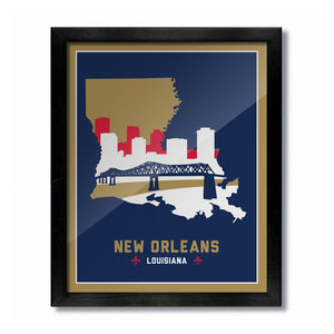 New Orleans, Louisiana Skyline Print: Blue/Gold Basketball