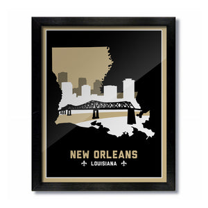 New Orleans, Louisiana Skyline Print: Black/Gold Football