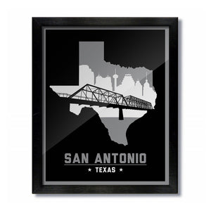 San Antonio, Texas Skyline Print: Black Basketball