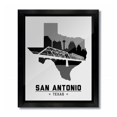 San Antonio, Texas Skyline Print: White Basketball