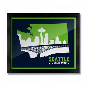 Seattle, Washington Skyline Print: Blue Football