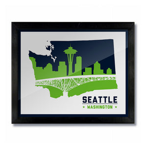 Seattle, Washington Skyline Print: White Football