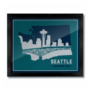 Seattle, Washington Skyline Print: Green Silver/Navy Baseball
