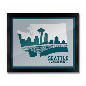 Seattle, Washington Skyline Print: Silver Green/White Baseball